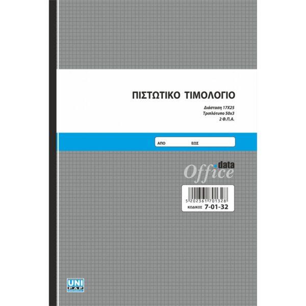Πιστωτικό Τιμολόγιο. Αυτογραφικό. 17x25 50x3 (τριπλότυπο), με 2 συντελεστές ΦΠΑ